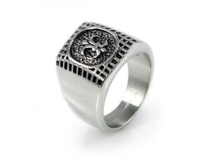 "Stainless Steel Men's ""Fleur De Lis"" Ring"
