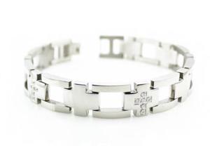"Men's CNC Pave Set Stainless Steel Bracelet 8.5"""