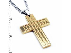 Stainless Steel Men's Gold Plated Cross Pendant