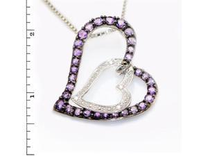 Sterling Silver Double Heart Link Pendant w/ Amethyst & Diamond
