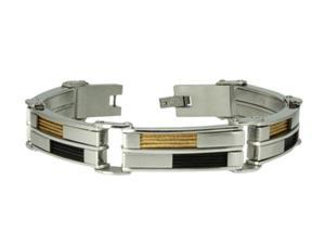 Stainless Steel Check Board Bracelet w/ Black & Gold Cable Inlay 8.5""
