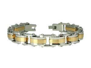Two-Tone Stainless Steel Biker Bracelet 8.5""