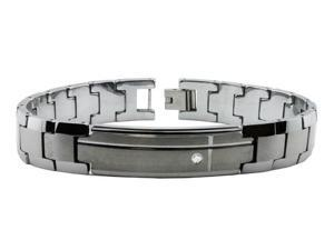 Tungsten Carbide ID Bracelet w/ CZ 8.5""