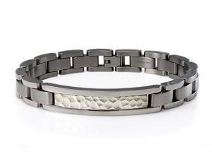Hammered Titanium ID Bracelet w/ Silver Inlay