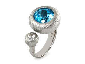 925 Sterling Silver Licensed Swiss Blue Topaz White Sapphire Cocktail Ring