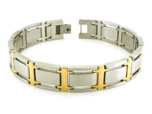 Two-Tone Stainless Steel Link Bracelet 8.5""