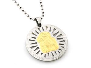Stainless Steel Mother Mary & Baby Jesus Two-Tone Disc Pendant