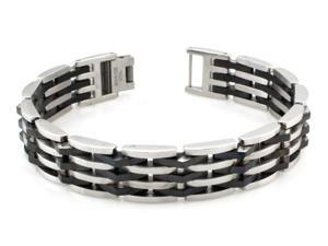 Stainless Steel Two-Tone Biker Bracelet
