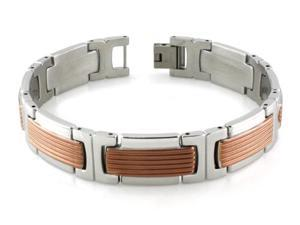 Stainless Steel Two-Tone Grill Pattern Link Bracelet
