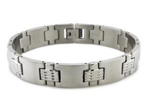 "Stainless Steel High Polish/Satin Finish Link Bracelet 8.25"""