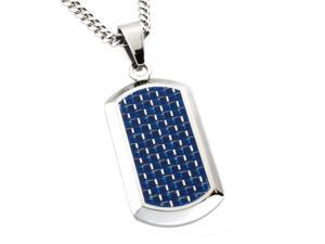 Stainless Steel High Polish Dog Tag Pendant w/ Blue Carbon Fiber