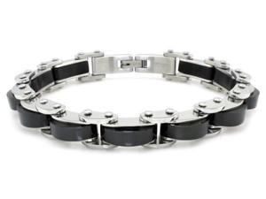 Tioneer B32225B Two-Tone Black Stainless Steel Biker Chain Link Bracelet