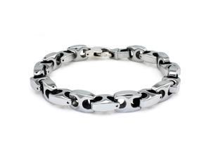 "Tungsten Marina-Style High Polish Link Bracelet - Length 9"""