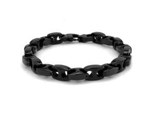 10mm Black Tungsten Marina-Style High Polish Link Bracelet - Length 9""