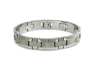 Tungsten Bracelet w/ Wood Style Design - Length 8.5""