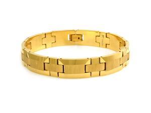 Tungsten Wood Style Design Gold Plated Bracelet - Length 8.5""