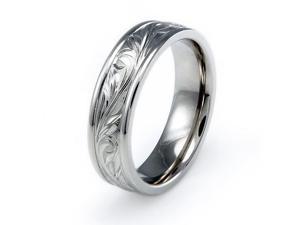 Handcrafted Floral Design Titanium Ring