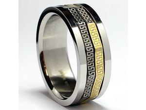 Tricolor Greek Key Laser Design Stainless Steel Spinner Ring