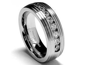 8MM Matte Finish Stainless Steel Ring Wedding Band with CZ
