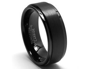 8MM Black High Polish / Matte Finish Men's Tungsten Ring Wedding Band