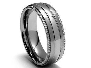 7MM Miligrained Titanium Ring Wedding Band jewelry