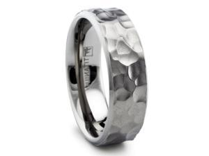 8MM Hammered Titanium Ring Wedding Band Matte Finish