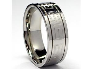 High Polish Stainless Steel Ring with  Greek Key Design