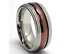 8MM Miligrained Chocolate Stainless Steel Ring