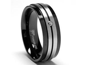 7.5MM Two Tone Black Stainless Steel Ring With Cubiz Zirconia