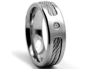7 MM Titanium ring Wedding band with Stainless steel Cable Inlay and Cubic Zirconia size 9