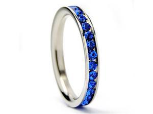 3MM Stainless Steel Eternity Ring with Blue Cubic Zirconia Crystals Size 9