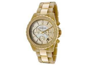 Michael Kors Chronograph Horn Acetate and Gold Tone Ladies Watch MK5417