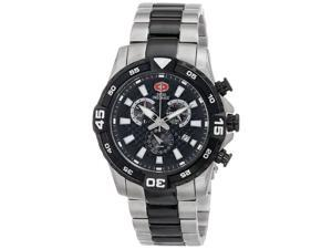 Swiss Precimax Falcon Pro SP13113 Men's Swiss Chronograph Watch - Black Dial, Two-Tone, Stainless Steel