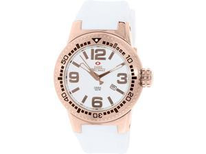 Swiss Precimax Men's Titan SP12031 White Silicone Swiss Quartz Watch with Silver Dial