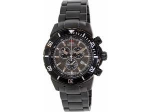Swiss Precimax Pursuit Pro SP13296 Men's Stainless Steel Swiss Chronograph Watch, Black Strap with Grey Dial