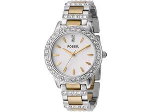 Fossil Women's ES2409 Silver Stainless-Steel Quartz Watch with White Dial