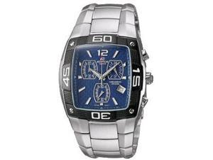 Casio Men's EF515D-2A Silver Stainless-Steel Quartz Watch with Blue Dial
