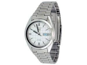 Seiko Men's 5 Automatic SNXF05K Silver Stainless-Steel Automatic Watch with White Dial