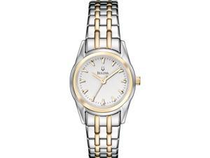 Bulova Women's 98L138 Silver Stainless-Steel Quartz Watch with White Dial