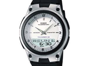 Casio Men's AW80-7AV Black Resin Analog Quartz Watch with White Dial