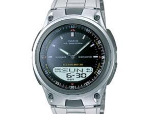 Casio Men's Casual Sports AW80D-1AV Silver Stainless-Steel Quartz Watch with Black Dial