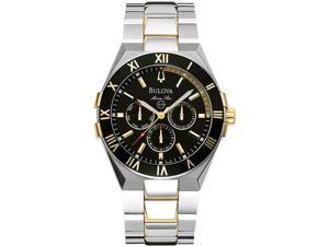 Bulova Men's 98C004 Two-tone Stainless-Steel Quartz Watch with Black Dial