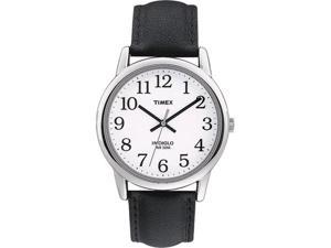Timex Men's T20501 Black Leather Quartz Watch with White Dial