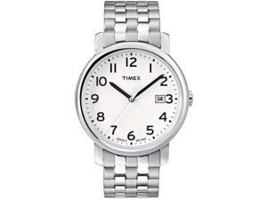 Timex Men's T2M655 Silver Stainless-Steel Quartz Watch with White Dial