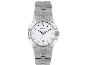 Bulova Men's 96B106 Silver Stainless-Steel Quartz Watch with White Dial