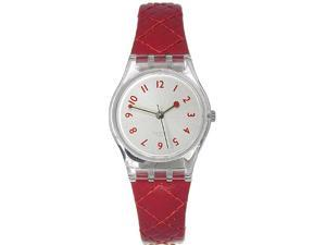 Swatch Women's LK243 Red Leather Quartz Watch with Silver Dial