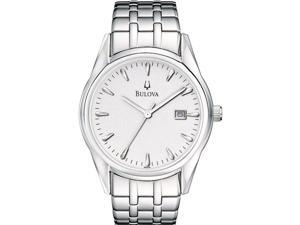 Bulova Men's 96B119 Silver Stainless-Steel Quartz Watch with White Dial