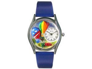 Hot Air Ballons Royal Blue Leather And Silvertone Watch #S1010018