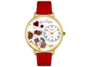 Bridge Red Leather And Goldtone Watch #G0430001