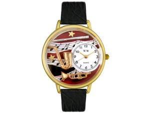 Wind Instruments Black Skin Leather And Goldtone Watch #G0510014